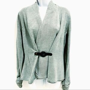 One A Gray Belted Ruched Sleeve Cardigan Sz.M